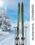 cross country skiing on a sunny ...   Shutterstock . vector #129688400
