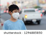 asian children wearing mask n95 ... | Shutterstock . vector #1296885850