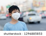 asian children wearing mask n95 ... | Shutterstock . vector #1296885853