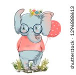 cute elephant with balloon | Shutterstock .eps vector #1296888613
