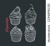 set of yummy cute cupcakes.... | Shutterstock .eps vector #1296898150