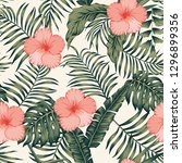 tropical flowers red and white... | Shutterstock .eps vector #1296899356