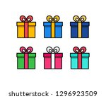 set of gift box with ribbon.... | Shutterstock .eps vector #1296923509