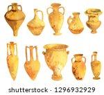 antique ceramics  silhouettes... | Shutterstock . vector #1296932929