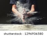 clap hands of baker with flour... | Shutterstock . vector #1296936580