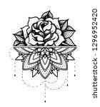 rose tattoo  mystic symbol.... | Shutterstock .eps vector #1296952420