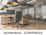 clean office interior with... | Shutterstock . vector #1296954016