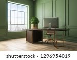 modern green office interior... | Shutterstock . vector #1296954019