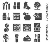 cosmetics related vector icons... | Shutterstock .eps vector #1296958000