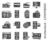 payment icons set. transaction  ... | Shutterstock .eps vector #1296958003