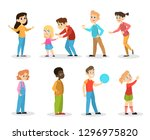 children set. girl and boy... | Shutterstock .eps vector #1296975820