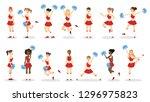 cheerleader in red uniform set. ... | Shutterstock .eps vector #1296975823