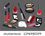 makeup kit. nail polish ... | Shutterstock .eps vector #1296980299