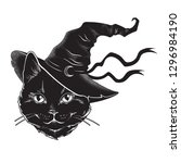 black cat with pointy witch hat ... | Shutterstock .eps vector #1296984190