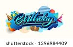 happy birthday celebration... | Shutterstock .eps vector #1296984409
