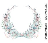 wreath of blossom pink cherry... | Shutterstock . vector #1296985633