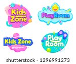 kids zone play room label text... | Shutterstock .eps vector #1296991273
