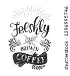 banner with coffee quotes .... | Shutterstock . vector #1296995746
