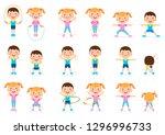 girl and boy children fitness... | Shutterstock .eps vector #1296996733