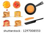 set of four pancakes with... | Shutterstock .eps vector #1297008553