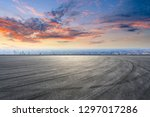empty asphalt road and city...   Shutterstock . vector #1297017286