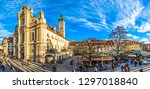 Munich, Germany - December 20: View of Viktualienmarkt a sunny day. It is a daily food market and a square in the center of Munich near Marienplatz on december 20, 2018 - stock photo