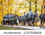 Bad Toelz, Germany - November 6: people with traditional clothes at the annual horse-carriage procession with blessing, named leonhardifahrt on November 6, 2018 in bad toelz, germany - stock photo