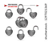 metal padlocks set in the shape ... | Shutterstock .eps vector #1297021369