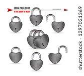metal padlocks set in the shape ... | Shutterstock .eps vector #1297021369
