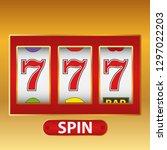 lucky seven slot machine.... | Shutterstock .eps vector #1297022203