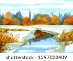 bulrush thicket at ice hole in... | Shutterstock . vector #1297023409