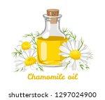 chamomile essential oil. glass... | Shutterstock .eps vector #1297024900
