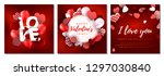 set of valentines day cards.... | Shutterstock .eps vector #1297030840