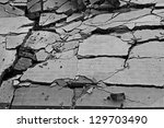Black And White Of Broken Wall...