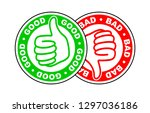 good and bad thumbs up and down ... | Shutterstock .eps vector #1297036186