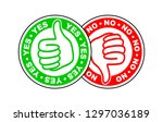yes and no thumbs up and down... | Shutterstock .eps vector #1297036189
