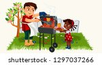 cartoon lovely father cooking... | Shutterstock .eps vector #1297037266