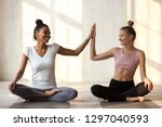 toned smiling diverse girls sit ... | Shutterstock . vector #1297040593