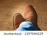 top view from man with brown... | Shutterstock . vector #1297044229