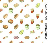 american food and snacks set.... | Shutterstock .eps vector #1297049299