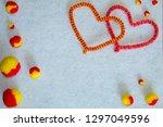 velour hearts and fluffy pom... | Shutterstock . vector #1297049596