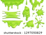 realistic set of green slime... | Shutterstock .eps vector #1297050829