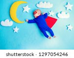 little baby superhero with red... | Shutterstock . vector #1297054246