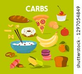 set of carb food. bread and... | Shutterstock .eps vector #1297054849
