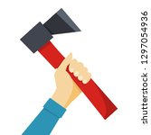 hand holding an axe. lumberjack ... | Shutterstock .eps vector #1297054936