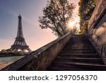 eiffel tower viewed from the... | Shutterstock . vector #1297056370