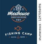 camping logos templates vector... | Shutterstock .eps vector #1297056496