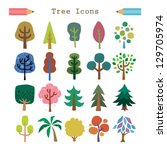 tree icon set - stock vector