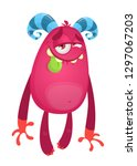 cute shy little monster showing ... | Shutterstock .eps vector #1297067203