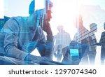 pensive bearded businessman... | Shutterstock . vector #1297074340